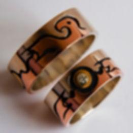 Thunderbird and Sun wedding rings 436.jp