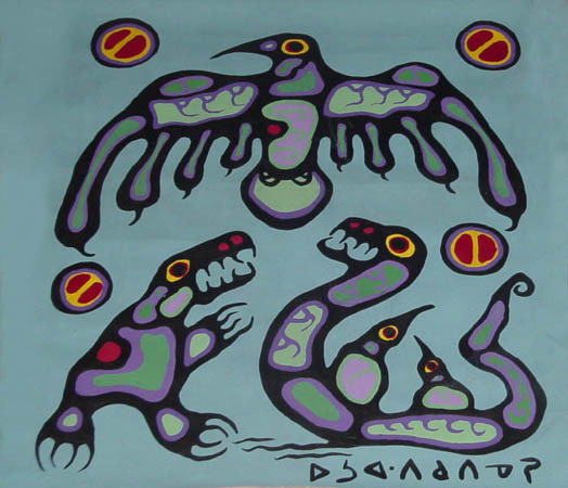 Norval Morrisseau Thunderbird and underwater beings