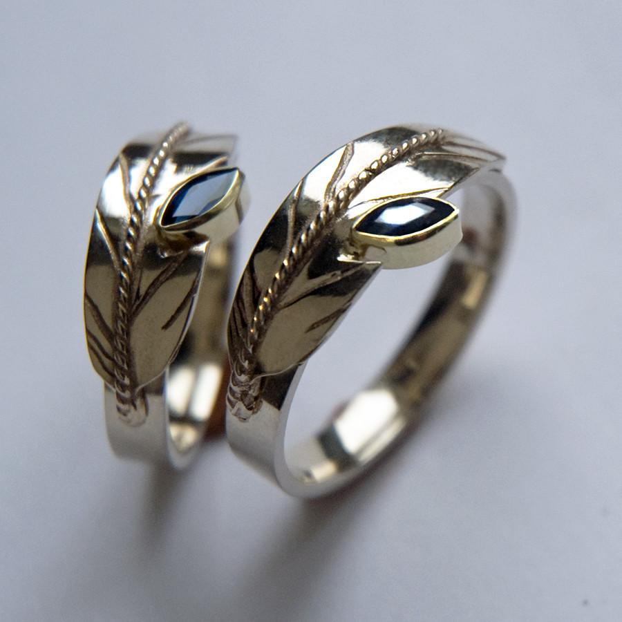 Sound in Flight eagle feather wedding rings by ZhaawanArt