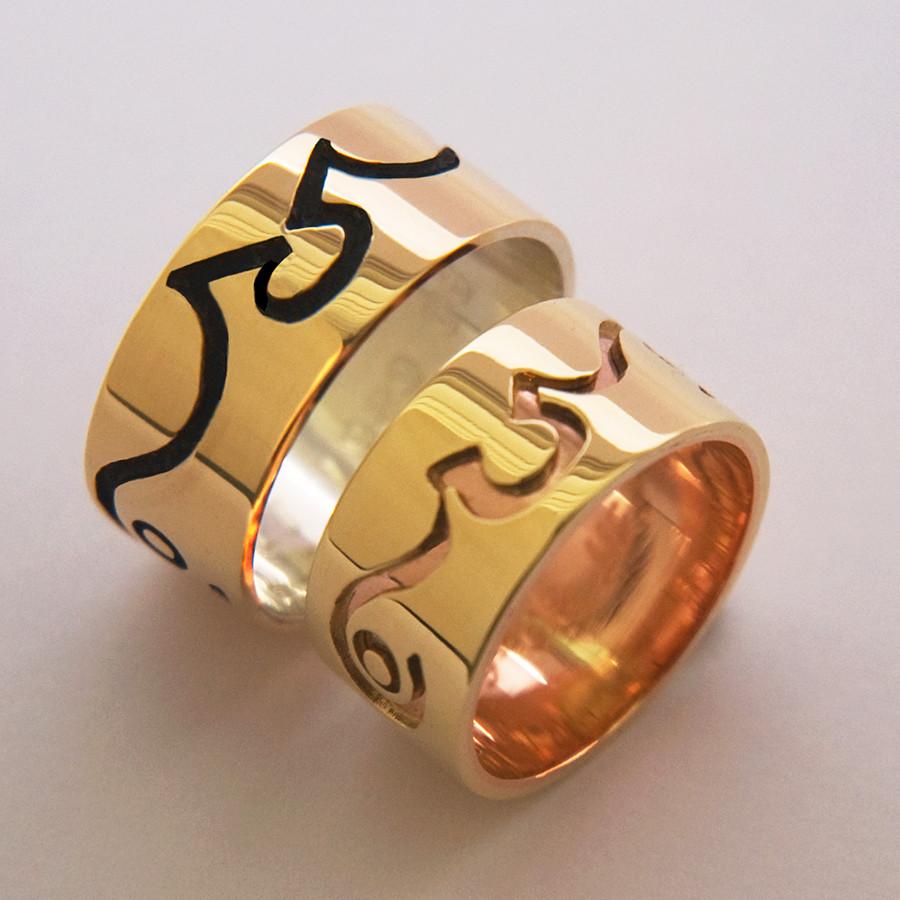 Anishinaabe graphic overlay wedding bands designed and handcrafted by Native Woodland jeweler Zhaawano Giizhik.
