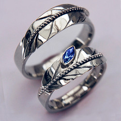 Eagle feather wedding rings
