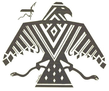 A traditional, abstract Ojibwe depiction of a Thunderbird and a snake.