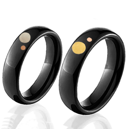 Black zirconium and gold rings The Sun, the Moon, and the Stars