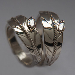 Two-Spirit wedding rings Two Feathers, One Spirit