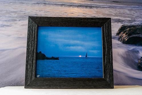 8x10 Framed Sunset Seascape with Sailboat Coastal Décor