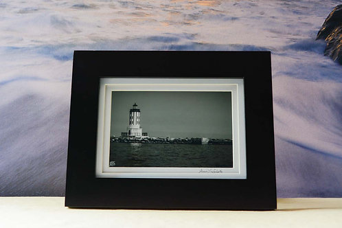 Framed 5x7 Black and White Seascape of Los Angeles Lighthouse