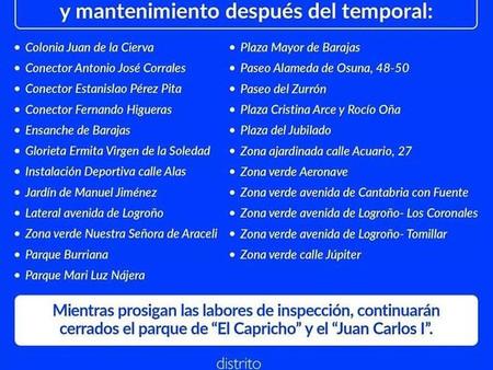 Información sobre reapertura de parques en el Distrito de Barajas