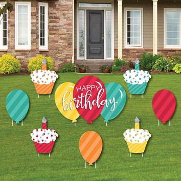 Happy Birthday - Cupcake and Balloon Yard Sign and Outdoor Lawn Decorations (Big Dot of Happiness)