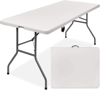 6ft Indoor Outdoor Heavy Duty Portable Folding Plastic Dining Table w/Handle