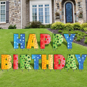 Happy Birthday Letters Yard Card (VictoryStore)