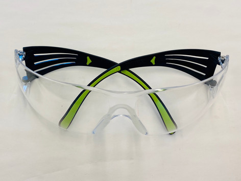 3M Black/Green, Brow Guard Eyewear with Clear Lens