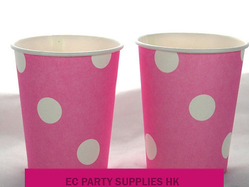 White dots paper cup (6 pcs) (Pink)
