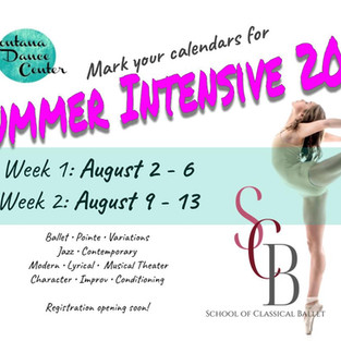 Save the Date - Summer Dance Intensive 2021