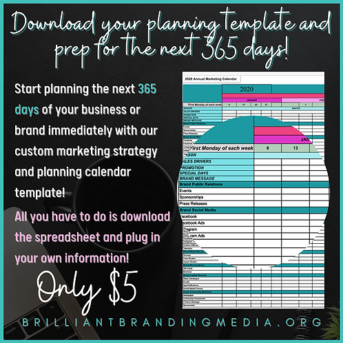 Yearly Marketing Content Planning Calendar Template