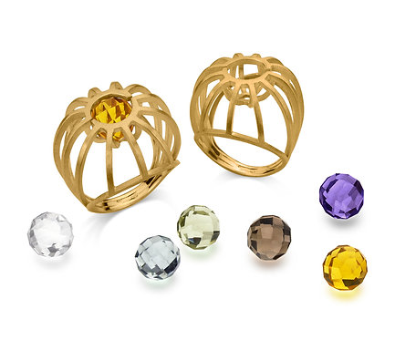 Stone Cage Ring in Gold  with three pairs of gems to choose