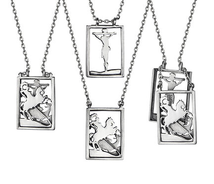Scapular 2 in 1 - Christ and the Holy Warrior G in Silver or Gold Platead Silver