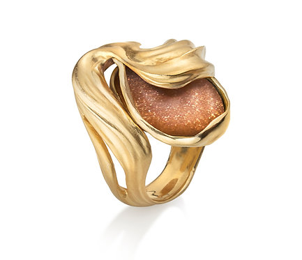 Veil Ring in Silver or Gold Plated with Sunstone