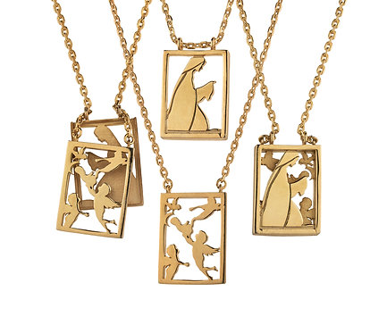 Scapular 2 in 1 - Mary L in Gold