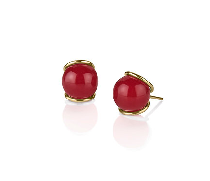Slip III  Earring in Gold with two (2) pairs of gems of your choice  (12 mm gem)