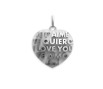 TE AMO Pendant in Silver or Gold Plated Silver