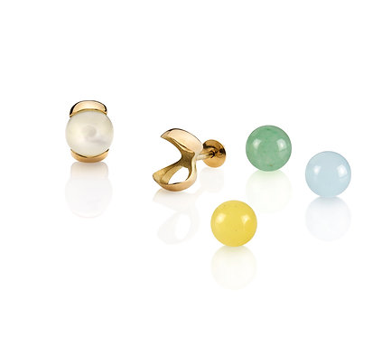 Slip for Kids II Earring in Gold with two (2) pairs of gems  (04 mm)