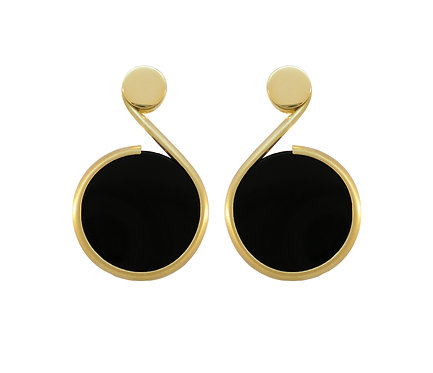 Black and White Earring in Gold