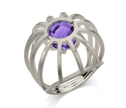 Stone Cage Ring in Silver or Gold Plated Silver