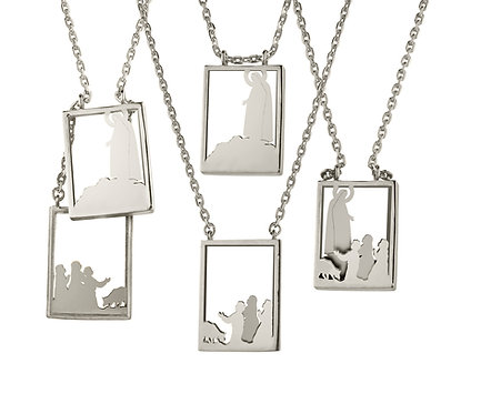 Scapular 2 in 1 - Fatima G in Silver or Gold Plated Silver