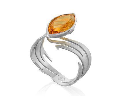 The Power of Fire Ring in Silver or Gold Plated Silver with wisky quartz