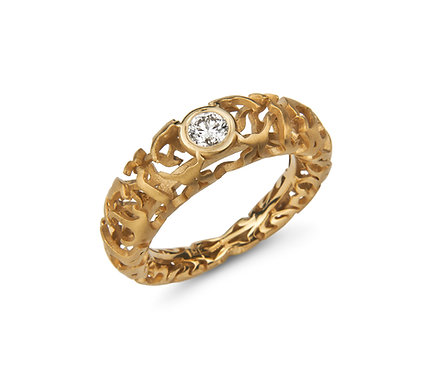 Bonfire Ring in Gold with Diamond
