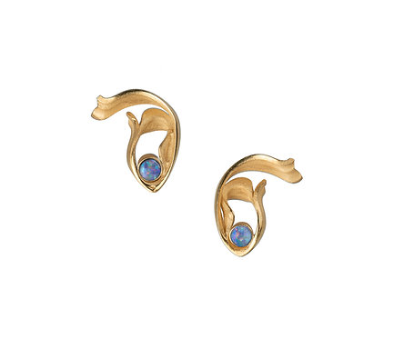 Beauty Earring in Silver or Gold Plated Silver  Double Opal