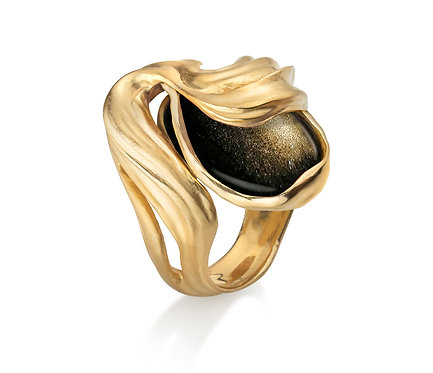 Veil Ring in Silver or Gold Plated and Obsidian