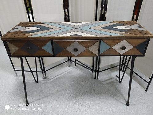 Tavolino consolle legno e acciaio