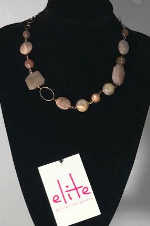 Collana argento e adularia rosa