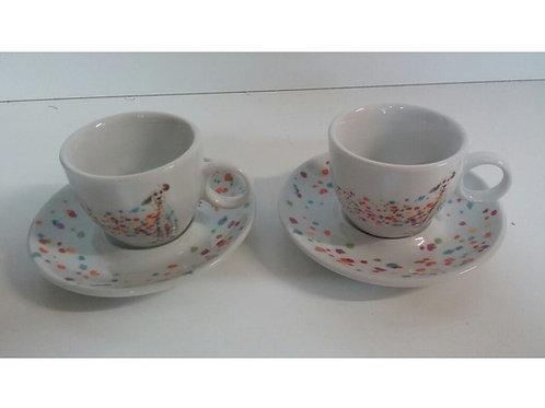 SET 2 TAZZINE CAFFE' CON PIATTINO DECORO CANE-CORIANDOLI