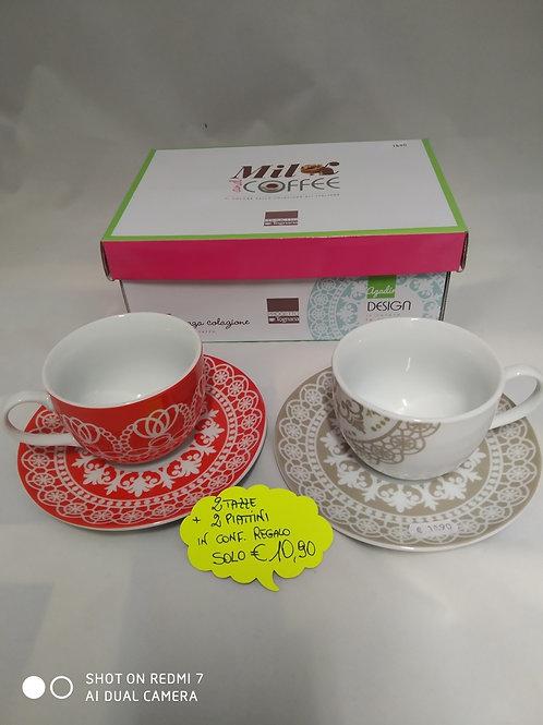 Idea Regalo 2 Tazzine Caffe' + 2 piattini
