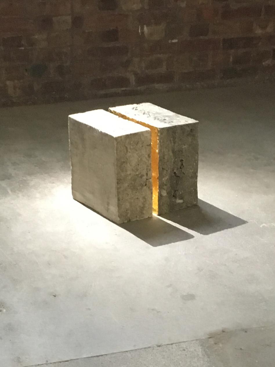 Inside, 2017,  Gold leaf lights up a crack in the concrete