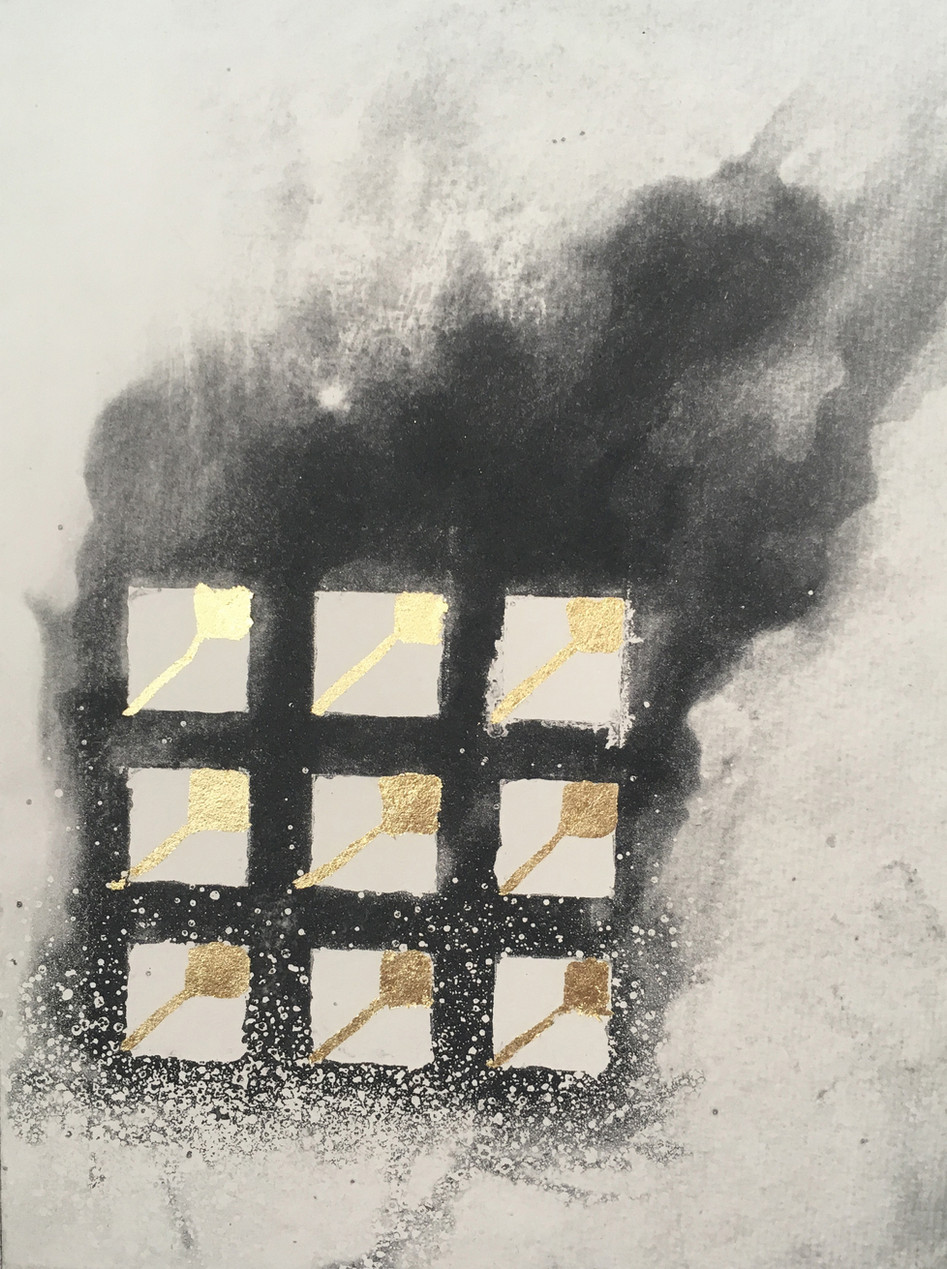 13/06/17, 2017,   Etching of a dream, the inevitability of the Grenfell Tower fire