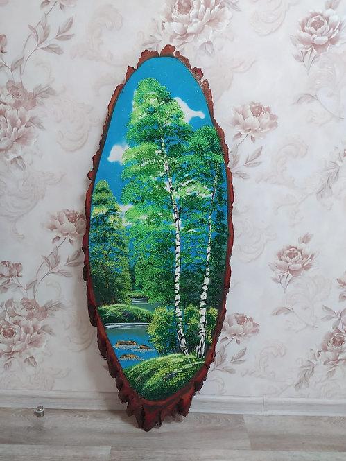 "Картина на спиле дерева ""Лето"", 100см"
