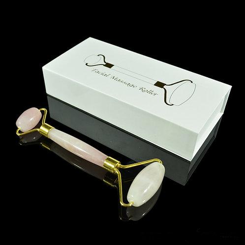 Роликовый массажер из розового кварца 150*55мм, в упаковке