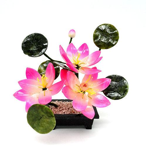 Бонсай лотос 3 цветка, B15, 180*90*200мм