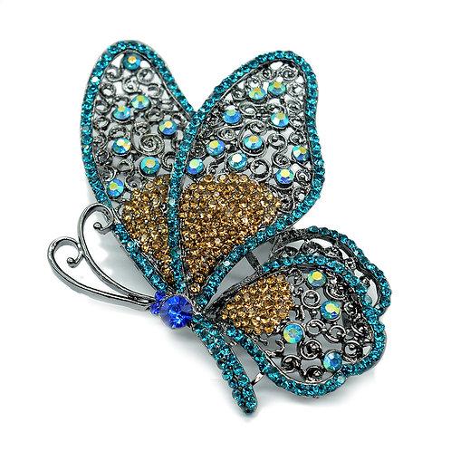 "Брошь ""Бабочка"" 60*79мм с цирконами, цв.голубой"