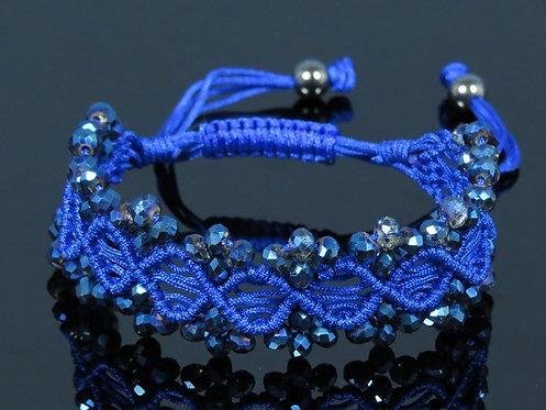 Браслет плетеный с цирконами цв.синий