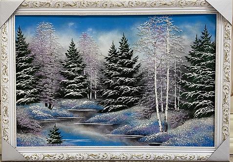 """Панно в багете """"Зима"""", 60х120см"""