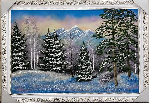 """Пано в багете """"Леса и горы России"""", 70х100см"""