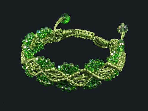 Браслет плетеный с цирконами цв.зелёный