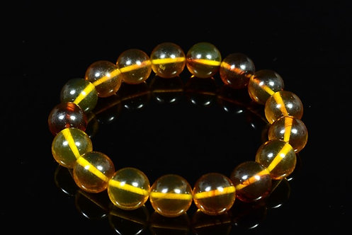 Браслет из янтаря шарик 12мм медово-коньячный