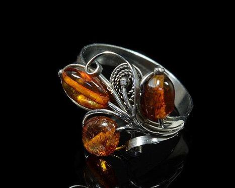 "Кольцо с янтарем ""Венок"", 17*19мм, размер-20"