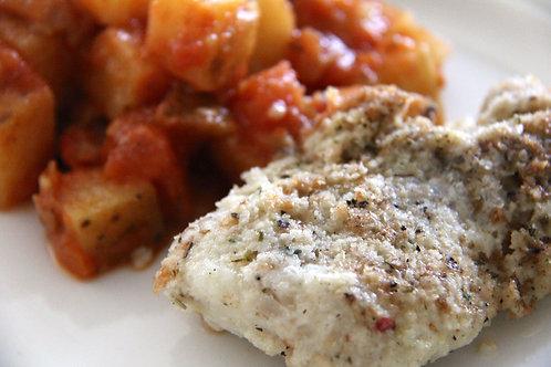 Morue en croûte de panko, concassé de tomates et fenouils au paprika fumé
