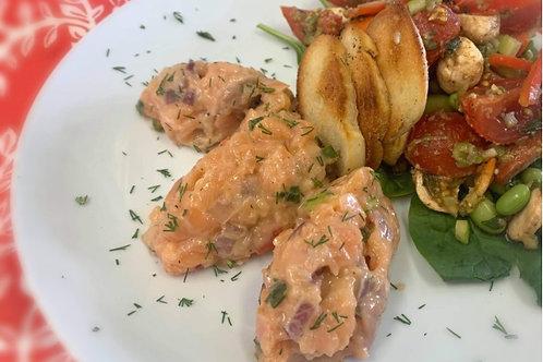Tartare de saumon frais et fumé au gingembre mariné (400 g) - Congelé